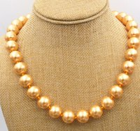 "Wholesale 14mm Plastic Pearls - New charmming 14mm Gold South Sea shell Pearl Necklace 18"" AAA"