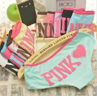 Wholesale Cute Girl Pink Underwear - 2017 Hot Sell Girl Sexy 100% Cotton Stripe Panties Women Underwear Vs Pink Briefs Cute Letter Women