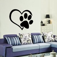 dog quotes wall decals achat en gros de-Heart Dog Cat Paw Autocollant mural en vinyle Quotes Living Room Animaux Autocollants Art Mural DIY