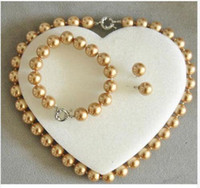 Wholesale Sea Pearl Jewelry Set - 10mm Champagne South Sea Shell Pearl Necklace bracelet Earrings Jewelry Set AAA