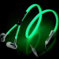 Wholesale Zipper Led - LED Luminous Earphones Glow In The Dark Headphones Metal Zipper Night Lighting Glowing Headset With Mic Handsfree For Iphone 7 Plus Samsung