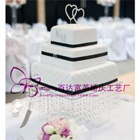 akrilik kristal boncuk telleri toptan satış-Düğün kristal akrilik Kek Standı-boncuk ipliklerini ile 16 inç kare kek ekran cupcake tutucu