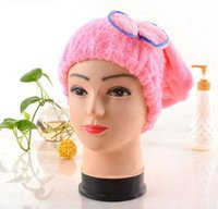 Wholesale Dry Hair Hat - 2017 5 Colors Microfiber Solid Hair Turban Quickly Dry Hair Hat Womens Girls Lady's Cap Bathing Tool Drying Towel Head Wrap Hat