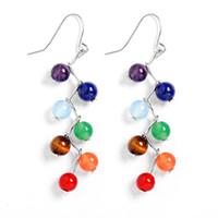 Wholesale yoga earrings - 6mm Agate Amethyst Stone Beads colorful Chakra Drop Earrings Yoga Reiki Healing Stone earrings for women girls 2pcs=1 pair