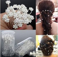 Wholesale Cheapest Glass Rhinestones - Cheapest 5pcs For Sale 2017 Bridal Pearl Hairpins Flower Crystal Pearl Rhinestone Hair Pins Clips Bridesmaid Ladies Hair Jewelry