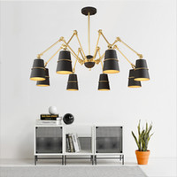 CCC black foyer pendant light - living room foyer simple hotel big Hanging light lamp gold and black LED bulb optional spider droplight Modern Pendant Light