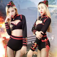 Wholesale Female Military Costumes - Sexy Nightclub military uniform Female JAZZ DS costumes Cosplay Acting Costume lead dance Bar DJ performance black hollow outfit party show