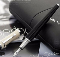 Wholesale Resin Notes - Greta Garbo monte black resin Fountain Pen   roller ball pen with pearl silver clip office school stationery luxury mb brand pen