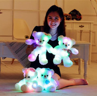 Wholesale Teddy Bear Romantic - Wholesale-38CM Romantic Colorful Flashing LED Night Light Luminous Teddy Bear Angel Shining Bear Doll Lovely Gifts for Kids and Friends