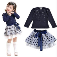 Wholesale Hooded Leopard Shirt - Baby Girl Clothing Sets Child Long Sleeve Pearl Shirt +Polka Dot Skirt 2 Pieces Children Bowknot Skirt Suits 5 S L