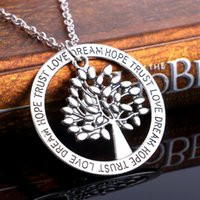 Sweater Silver letters Dream Ne jamais abandonner Tree of life Pendant Necklace Hope Love Dream NE207