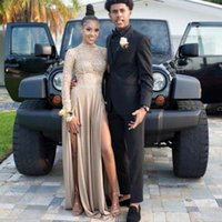 Wholesale Long Sleeve Gray Maxi Dress - 2017 Champagne Long Sleeves Lace Prom Dresses Arabia Homecoming Maxi Gowns High Slit Chiffon Sheer Prom Gown Graduation Gown