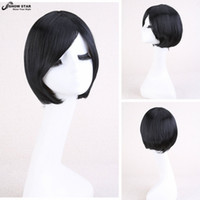 Hot Sale Anime Black Short Bob Peruca Straight Cental Parting Wig Perruque Synthetic Mulheres Kanekalon Pelucas Sinteticas Cosplay Peruca Cosplay wom