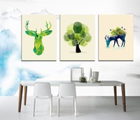 Wholesale Thumb Print - Small fresh thumb painted deer tree Modern abstract oil painting in home decoration frameless SIRILI Art Canvas Wall Art