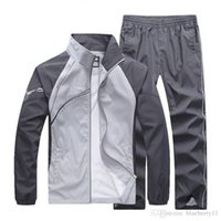 Wholesale Cardigan Hoodies - men's tracksuits patchwork sportswear coats jackets+pants sets mens hoodies and sweatshirts outwear suits