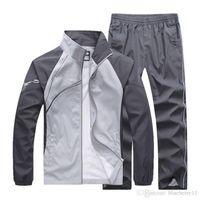 erkekler patchwork takım elbise toptan satış-erkek eşofman patchwork spor mont ceket + pantolon setleri mens hoodies ve tişörtü dış giyim takım elbise