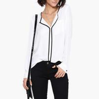 yeni şifon bluz stili toptan satış-Yeni Yaz Tarzı Moda Bayan Casual Beyaz Gömlek Uzun Kollu Siyah Yan Şifon Bluz V Yaka Iş Gömlek Kadınlar