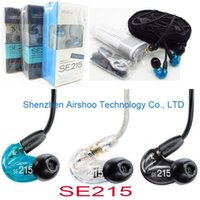 Wholesale Horn Wiring - High quality black clear blue SE215 3.5mm In-Ear HIFI Earphones Noise Cancelling Headsets Headphone Moving-coil horn with box se 215