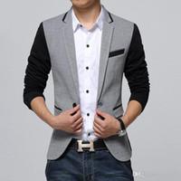 Wholesale Suite Jackets - New Slim Fit Casual jacket Cotton Men Blazer Single Button Gray Mens Suit Jacket Male Suite