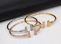 hersteller edelstahl großhandel-Star mit Absatz einfach Doppel T offenen Armband, Frauen Edelstahl Galvanik Ofen Echtgold Armband Hersteller