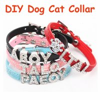Wholesale Mix Slide Dog Collar - 10pcs Mix 5colors&4sizes PU Leather Personalized DIY Name Charm Dog Pet Collar Pet Supplies For 10mm Slide Charms(Price exclude sliders)
