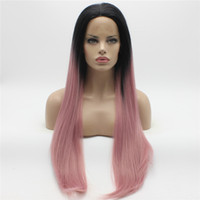 Wholesale Extra Long Lace Hair - Iwona Hair Straight Extra Long Dark Root Pink Ombre Wig 22#1 3100B Half Hand Tied Heat Resistant Synthetic Lace Front Wigs