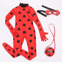 Wholesale Cat Woman Jumpsuit - Kids Adult Miraculous Ladybug Cosplay Costume With Mask Ladybug Romper Costume Cat Suit Halloween Women Ladybug Tight Jumpsuit