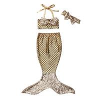 Wholesale Toddler Girls Tankini Swimsuits - Kids Girls Bikini Swimwear Baby Girls Mermaid Swimsuit Toddler Headband + Top + Skirt 3pcs Set 2017 Summer Princess Bathing Tankini Swimwear