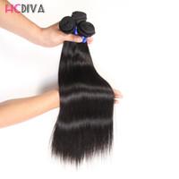 satılık perulu saç uzantıları toptan satış-Brezilyalı Hint Malezya Perulu Uzantıları Düz Virgin İnsan Saç Sınıf 7A 3 Demetleri 100% Işlenmemiş Doğal Renk Toptan Satış