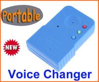 caixa de voz do telefone móvel venda por atacado-MINI Handheld Voice Changer Telefone Móvel Portátil Sem Fio Divertido Voz Disguiser Telefone trocador de voz Gadgets Azul com caixa de varejo