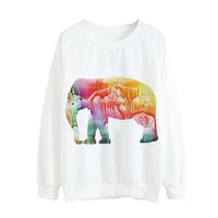 Wholesale Wholesale Ladies Sweatshirts - Long Sleeve Ladies Sweater Colorful Elephant Printed Short Sweatshirt Women Autumn Coat Casual O-Neck Loose Pullover Shirt