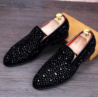 Wholesale Red Rhinestone Flat Wedding Shoes - 2017 mens fashion loafers slip on rhinestone flat casual boat shoes driving mocassins brogues shoes plus size 37-44