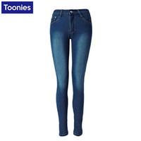 Wholesale Full Wash - Wholesale- Toonies Solid Blue Pencil Pants Skinny Jeans Women Blue Stretch Pants Denim Full Length Trousers Fashion Plus Size 2016 Jean