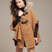 Womens Hooded Poncho Cape Coat Winter Warm Pelz Schal Wolle Mäntel Umhang
