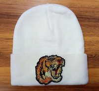 Wholesale Tiger Hat Knitted Warm - Hight quality tiger head embroidered beanies autumn winter knitted warm men beanies causal streetwear gorro ski hat bee snake hats