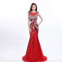 Wholesale Evening Dresses Fast Delivery - Sparkling Major Beaded Mermaid Prom Dresses With Crystals Sequins Sheer Neck Red Evening Dress Long Fast Delivery Zipper Girls Pageant Gowns