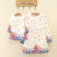Wholesale Wholesale Women S Spring Clothing - Mother Daughter Dresses Kids Girls Floral Print Dress Women Party Dress 2017 Mom Girls Full Sleeve Dress Family Match Outfits Clothing B748