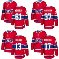Wholesale New Holland Stopping - 2017 New Brand Mens Montreal Canadiens 13 Peter Holland 17 Torrey Mitchell 37 Martinsen 61 Veilleux Red Ice Hockey Jersey Accept Custom