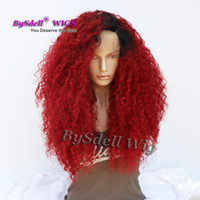 Wholesale Long Curly Rooted Wigs - Long Fluffy Big Hair Wig Synthetic Kinky Curly Black Root Ombre Burgundy Color Hair Lace Front Wig African American Glueless Lace Front Wigs