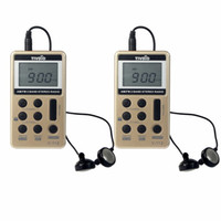 Wholesale best radio receiver resale online - 2pcs TIVDIO V Mini Pocket Radio FM AM Band Radio Station Multiband Radio Receiver Rechargeable Battery Earphone Best F9202