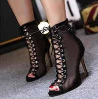 Summer Style Vogue Sexy Mesh Gladiator Talons hauts Sandales Femmes Pompes Cross sangles Open Toe Stiletto Ladies Party Mariage Chaussures