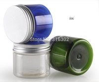 Wholesale Blue Cosmetic Glass Jars Wholesale - Free shipping - 50g Blue Cream Jar, 50CC Clear Green PET jar, 50cc cream bottle, cosmetic container,cosmetic packaging