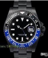 pvd de aço inoxidável venda por atacado-2016 mens de luxo fornecedor de alta qualidade mens ii azul preto cerâmica moldura 116710ln 116710 automático de aço inoxidável preto PVD relógios dos homens.
