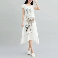 Wholesale Hand Paint Dress - Women's Dress Plus Size Summer Dresses Restore Ancient Ways The Hand-painted Fairy Skirt Loose Cotton Print Skirt of Big Yards