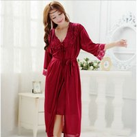 Оптовые- 1 Set Fashion Spring / Summer Sexy Women's Strap Nightgown Nightdress Sleepwear Женская шелковая мантия Twinset Pajamas
