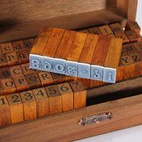 Wholesale Wood Script - Wholesale-DIY Multi Purpose 70pcs set Vintage Regular Script Number Lowercase Alphabet Letter Decoration Wood Rubber Stamps Set Wooden Box