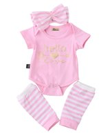 Wholesale Newborn Infant Kids Baby Girl Clothes Set Romper Leg Warmer Headband Girls Clothing Outfit Set