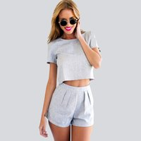 Wholesale Short Womem - Summer Brand New Europe Fashion Casual Pure Color Gray Midriff Suit Cotton Womem Clothing Shorts Skirts T-Shirt