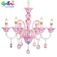 Wholesale Kitty Girl Vintage - GMTM New design Modern Little Girl living room chandelier bedroom lamp lighting pink Hello Kitty crystal lustre E14 candle bulb
