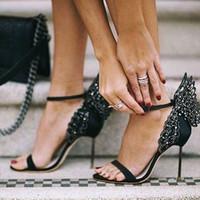 kelebek kanatlı ayakkabılar toptan satış-2017 Sophia Webster Evangeline Melek Kanat Sandal Artı Boyutu 42 Hakiki deri Düğün Pompaları Pembe Glitter Ayakkabı Kadın Kelebek Sandalet Ayakkabı